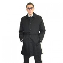 mens black single breasted fully lined belted trench coat