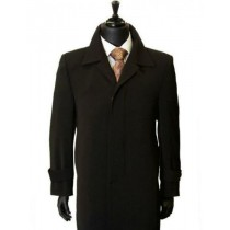 All Weather Classic Trench Microfiber Gaberdine TopCoat - Mens Black Overcoat - Mens Black Topcoat