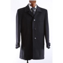 Single breasted 3/4 length black wool & cashmere winter coat - Mens Cashmere Overcoat
