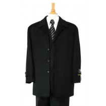 Luxurious Wool & Cashmere half-length Black - Cashmere Topcoat - Mens Cashmere Overcoat - Cashmere Coat