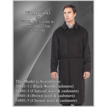 Mens full-length hidden button wool blend black overcoat - Mens Topcoat - Wool Top Coat