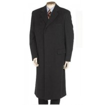 Black Wool Blend Fully Lined Hidden buttons long Overcoat