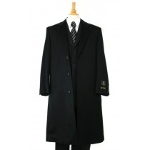 Harward Luxurious soft finest Wool Dress Coat Full Length Black Topcoats