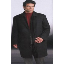 Single breasted Wool Zippered 3/4 Length  Dress Coat Topcoats ~ overcoat