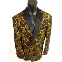Mens Black with Gold Blazer Sport Coat- Single Breasted Shawl Lapel Jacket