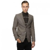 Mens Tweed Windowpane Pattern Brown and Grey Blazer