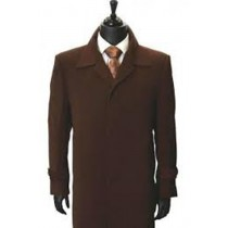 Gaberdine Trendy Microfiber Trench Mens Topcoat ~ Brown