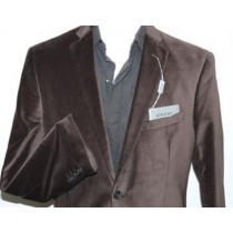 Mens Single Breasted Chocolate Brown Velvet Sport Coat