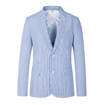 Mens Two Button Carolina Blue seersucker Sport Coat