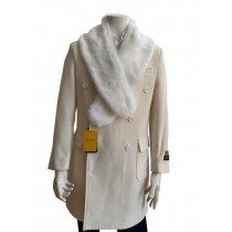 peacoat - Mens removable furcollar Cashmere Topcoat + manhattan-white By Alberto Nardoni
