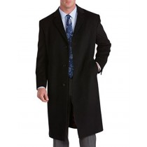 Mens Extra Long Outerwear Black/Charcoal Topcoat & Overcoat for Tall Man