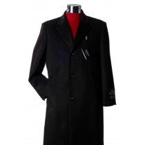 3/4 Length Notch Lapel Charcoal Cashmere Wool Topcoats