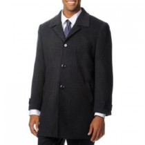 Back Vent Three Button 'Ram' Charcoal Cashmere Blend Top Coat