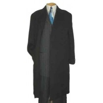mens full length coat Charcoal Wool Blend 3 Button Overcoat