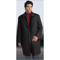 Charcoal Gray four button Wool Cashmere Car coat