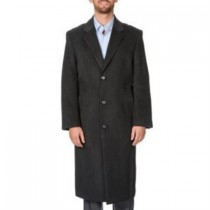 Herringbone Three Button 'Harvard' Charcoal Dress Coat Tweed Full-Length Coat