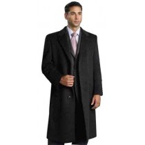38 Inch Charocal Gray Dress Coat Wool Overcoat with sharp shoulders
