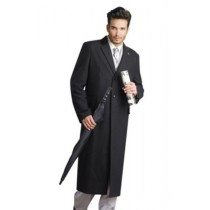 Black Dress Coat Full-Length stylish high quality fabric Men's Overcoat
