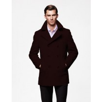 Wool Fabric Big And Tall-Mens Dark Brown Notch Lapel Peacoat