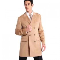 Double Breasted Cashmere Wide Peak Lapel beige pea coat mens