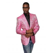 Pink Single Breasted Alberto Nardoni Floral Pattern Jacket