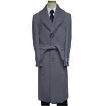 Mens Full Length Fur Collar Charcoal Grey Wool And With Fur Collar Overcoat (Belt Not Included)