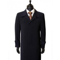 Maxi-Length Navy Trench Coat Dress Coat Mens Overcoat