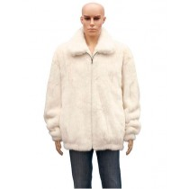 Men's Fur Full Skin Natural White Pull Up Zipper Jacket