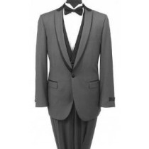 GRAY AND BLACK ONE BUTTON TUXEDO