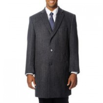Long Length Three Button 'Ram' Grey Dress Coat Cashmere Blend Top Coat