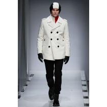 Mens halfwhite Peacoat - halfwhite Wool Overcoat