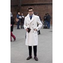 Mens litewhite Peacoat - litewhite Wool Overcoat
