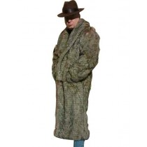 Mens Coffee Brown Long Length Faux Fur Coat  Overcoat - Mens Topcoat - Ankle Length Coat