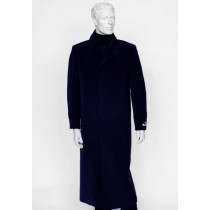 Mens Navy Notch Lapel Full Length All Weather Coat Duster Maxi Coat