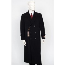 Mens Navy Peak Lapel Full Length Overcoat Double Breasted Top Coat-Black
