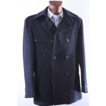 Double breasted luxury Navy wool winter coat with long sleeves