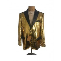 Mens One Button Gold Sequin  - Sequin  - Dinner Jacket