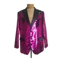Mens One Button Hot Pink ~ Fuchsia Sequin- Sequin - Dinner Jacket