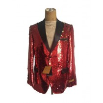 Mens One Button Red Sequin - Sequin  - Dinner Jacket