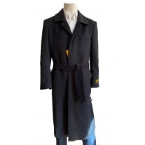 Mens Overcoat - Black Full Length Topcoat - Wool Coat