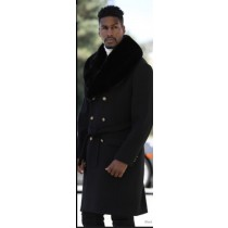 Mens Black Peacoat With Fur Collar - 3/4 Length - Wool & Cashmere