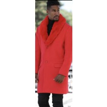 Mens Red Peacoat With Fur Collar - 3/4 Length - Wool & Cashmere