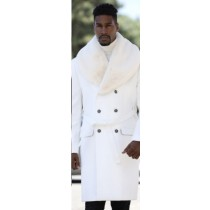 Mens  Peacoat With Fur Collar - 3/4 Length - Wool & Cashmere
