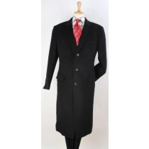 Mens Plaid 100% Wool Overcoat - Plaid Wool Topcoat Black