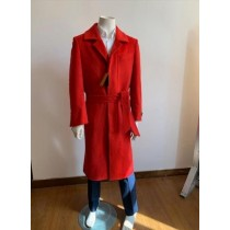 Mens  Red Overcoat Trench coat - Wool Fabric Trench Coat For Men Full