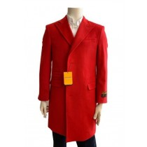 Mens  Red Overcoat Trench coat - Wool Fabric Trench Coat For Men