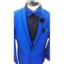 Mens Royal Blue Single Breasted Shawl Lapel Overcoat