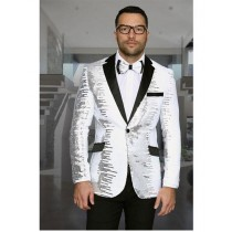Mens Shiny Sequin One Button Notch Lapel White & Black Blazer