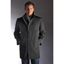 Black Repellent Single Breasted 34 Length Car Coat-Jean-Paul Germain Water