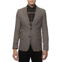 mens top coat slim fit Brown Herringbone Tweed